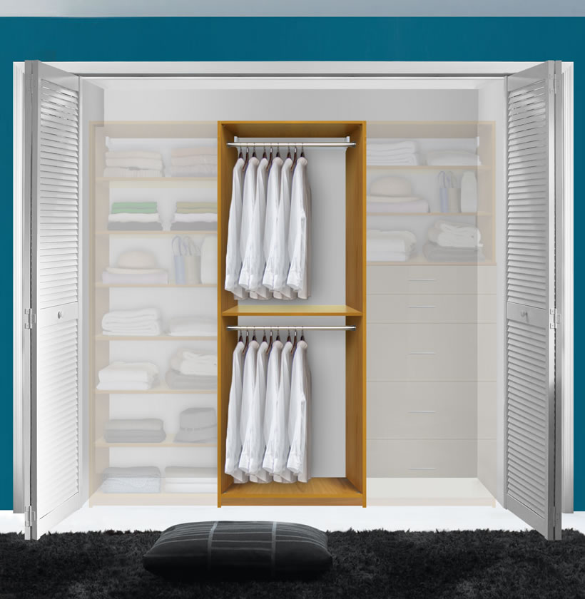 Double Hanging Closet Module; Closet Modules Can Be Combined ...
