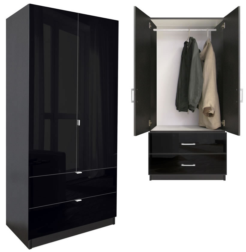 Alta 2 Drawer Wardrobe Armoire Contempo Space
