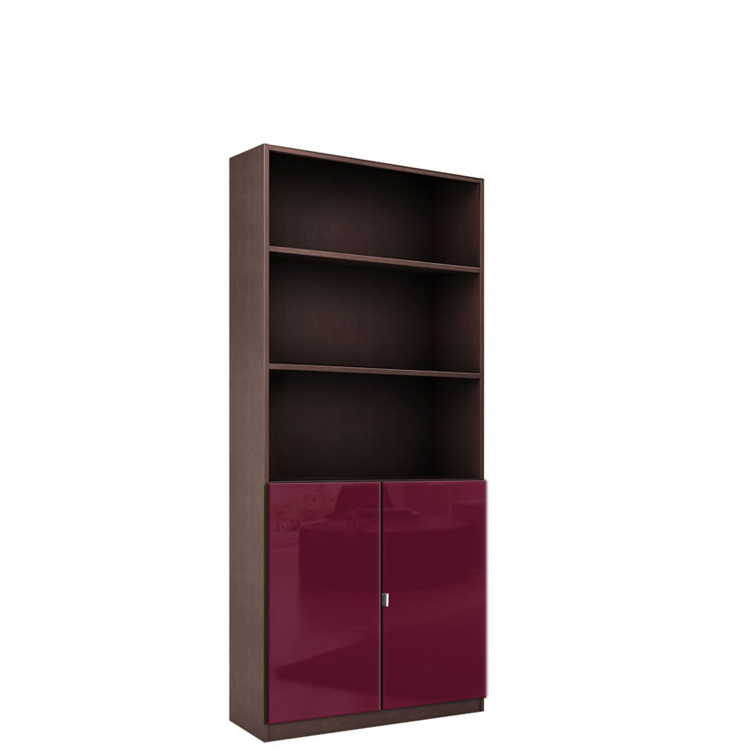 Alexis 6 Foot Bookcase With Custom Cabinet Doors