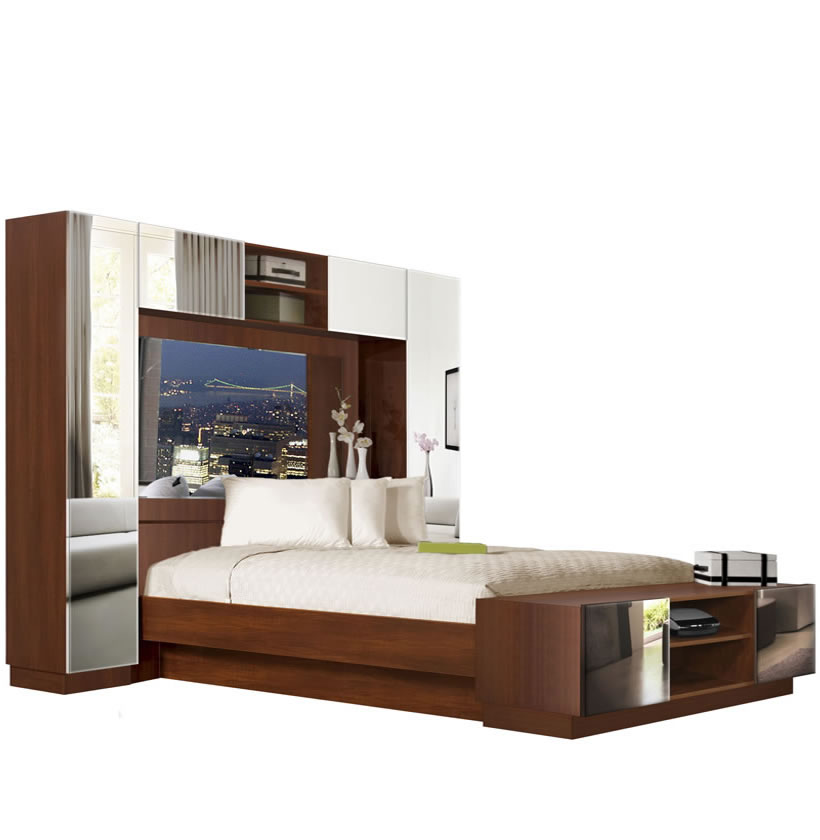 chilton pier wall bed with mirrored headboard contempo space. Black Bedroom Furniture Sets. Home Design Ideas