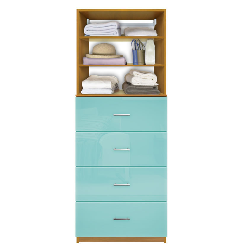 Isa Closet Drawer System - 4 Deep Drawers, Adjustable Shelves | Contempo Space