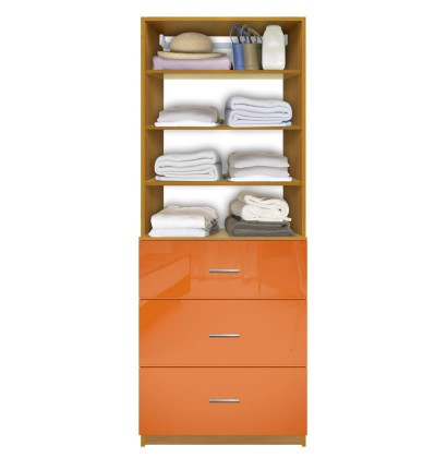 Isa Custom Closet System - 3 Deep Drawers, Adjustable Shelves
