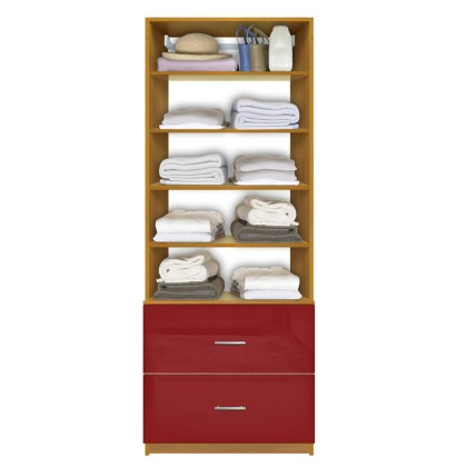Isa Custom Closet System - 2 Deep Drawers, 5 Shelves