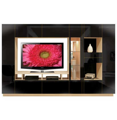 Isabella Wall Unit Black Glass