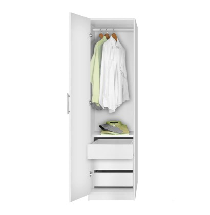 Alta Narrow Wardrobe Closet - Left Door, 3 Interior Drawers