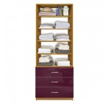 Isa Custom Closet Organization Unit, 3 Drawers, 4 Adjustable Shelves