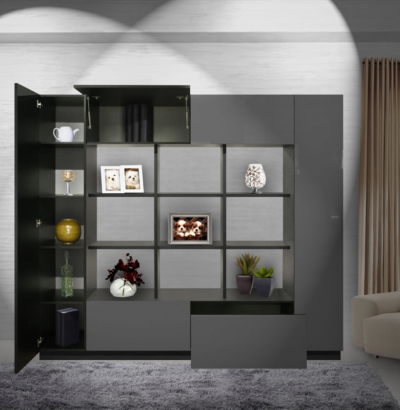 Harrison Bookcase Modern Cube Bookshelves Surrounded By