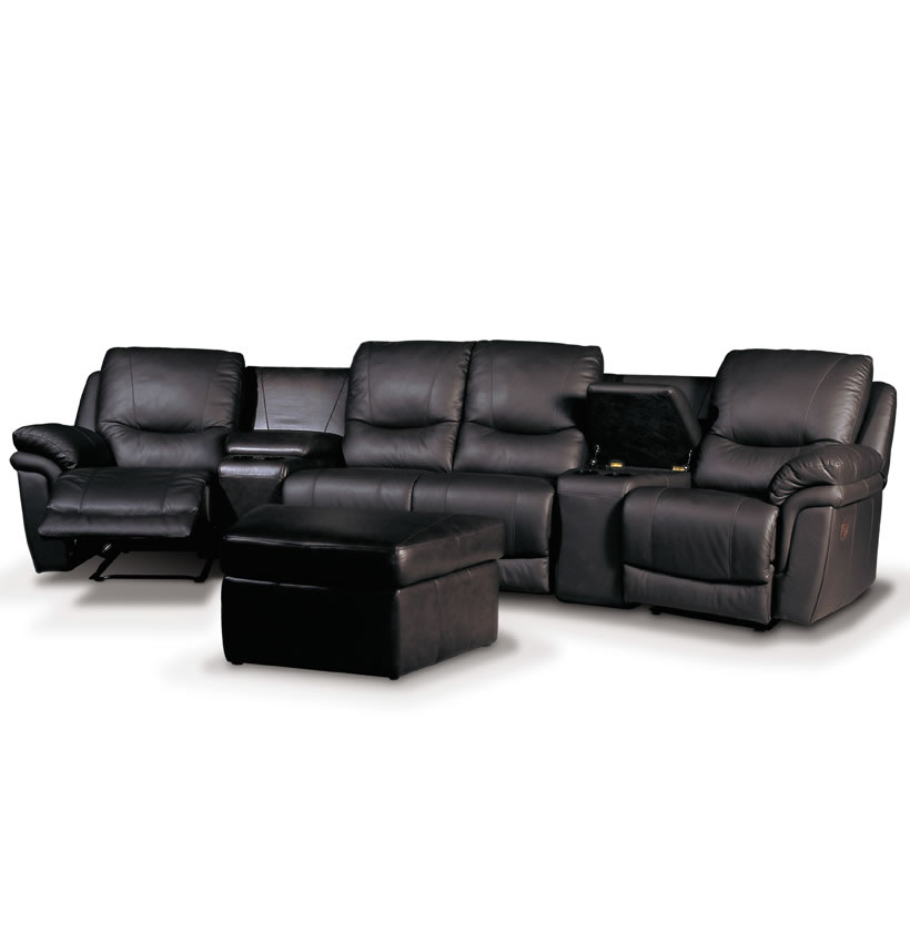 Patrick home theater seating black leather luxury