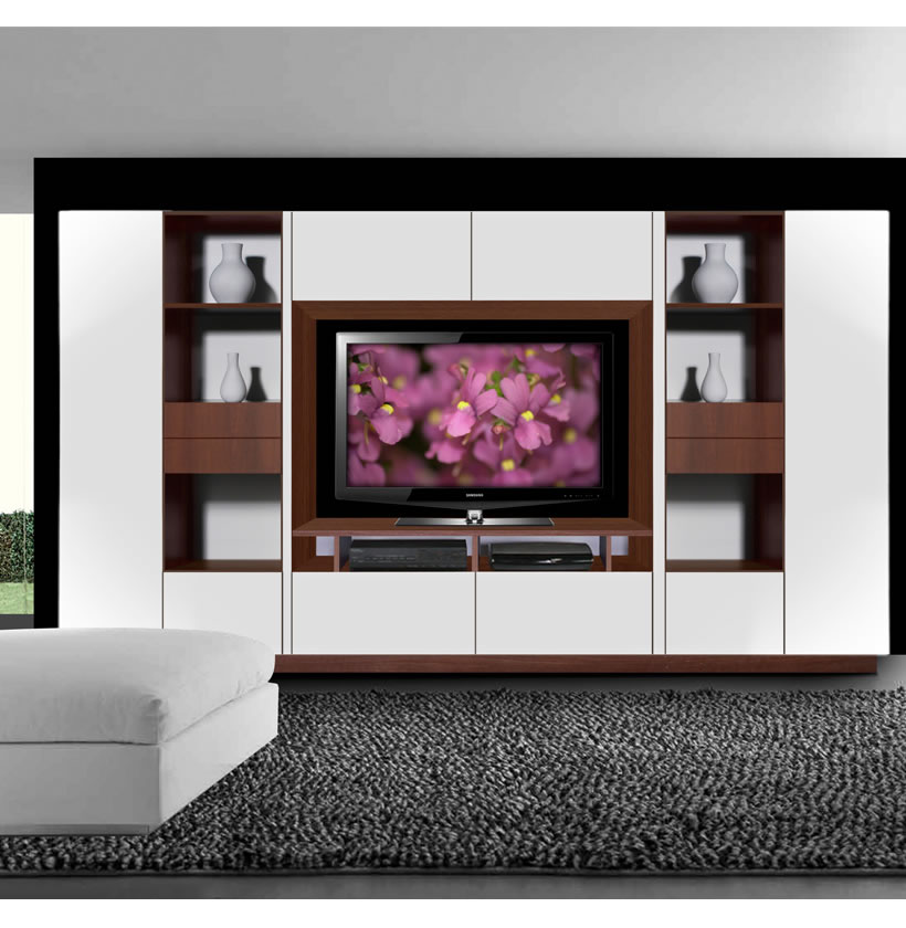 lucus entertainment wall unit w open space and closed storage contempo space. Black Bedroom Furniture Sets. Home Design Ideas