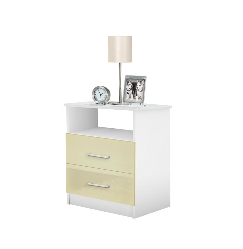 Freedom Bedside Night Table 2 Drawer Open Top Night