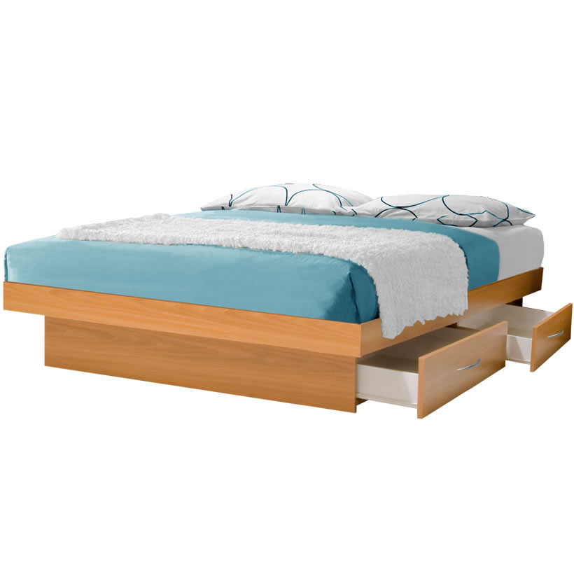 California king platform bed with 4 drawers contempo space - Cal king bed with drawers ...