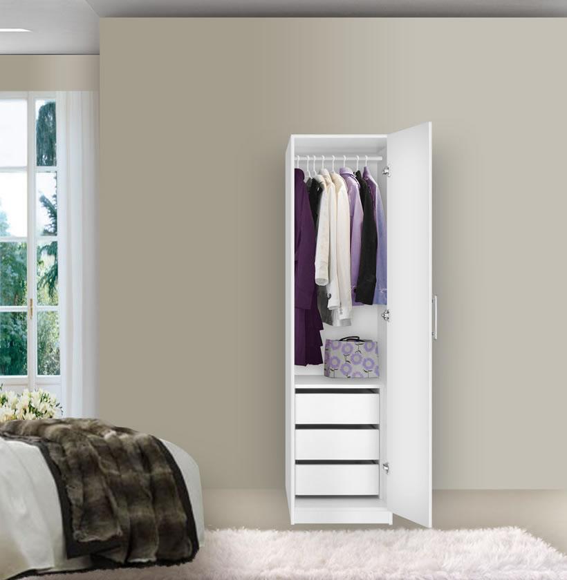 Alta Narrow Wardrobe Closet Right Door 3 Interior Drawers Contempo Space