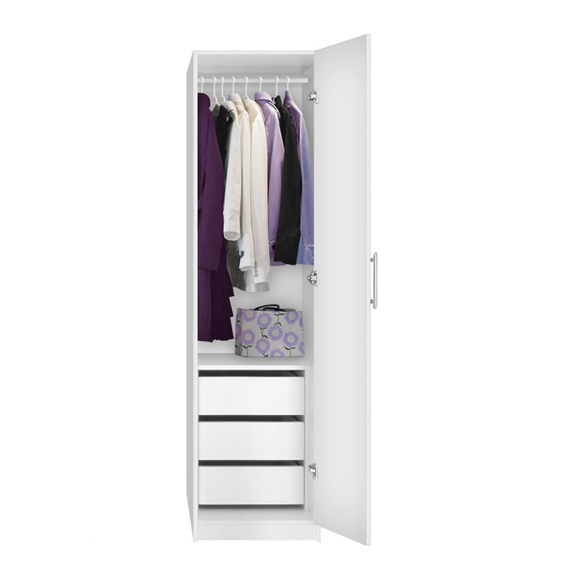 Alta Narrow Wardrobe Closet Right Door 3 Interior Drawers Contempo Space