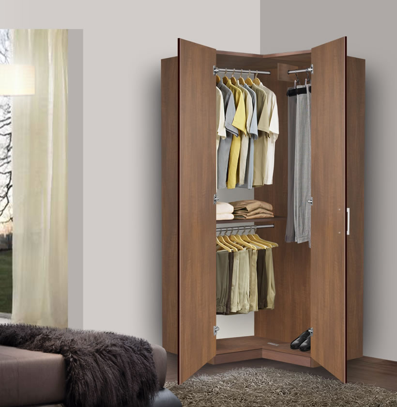 Bella Corner Wardrobe - Corner Closet w Three Hangrods | Contempo