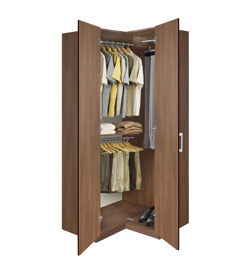 Bella Corner Wardrobe - Corner Closet w Three Hangrods ...