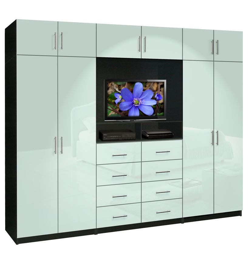 Aventa tv wall unit x tall 10 door wall unit for for Bedroom wall units with wardrobe for small room