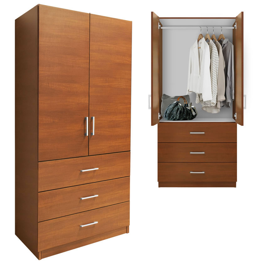 Alta wardrobe armoire external drawers contempo space