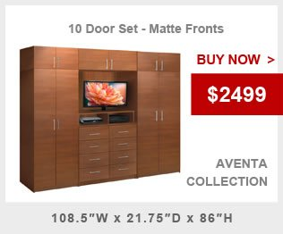 10 Door Aventa Wardrobe Closet with Cabinets Drawers & TV Space