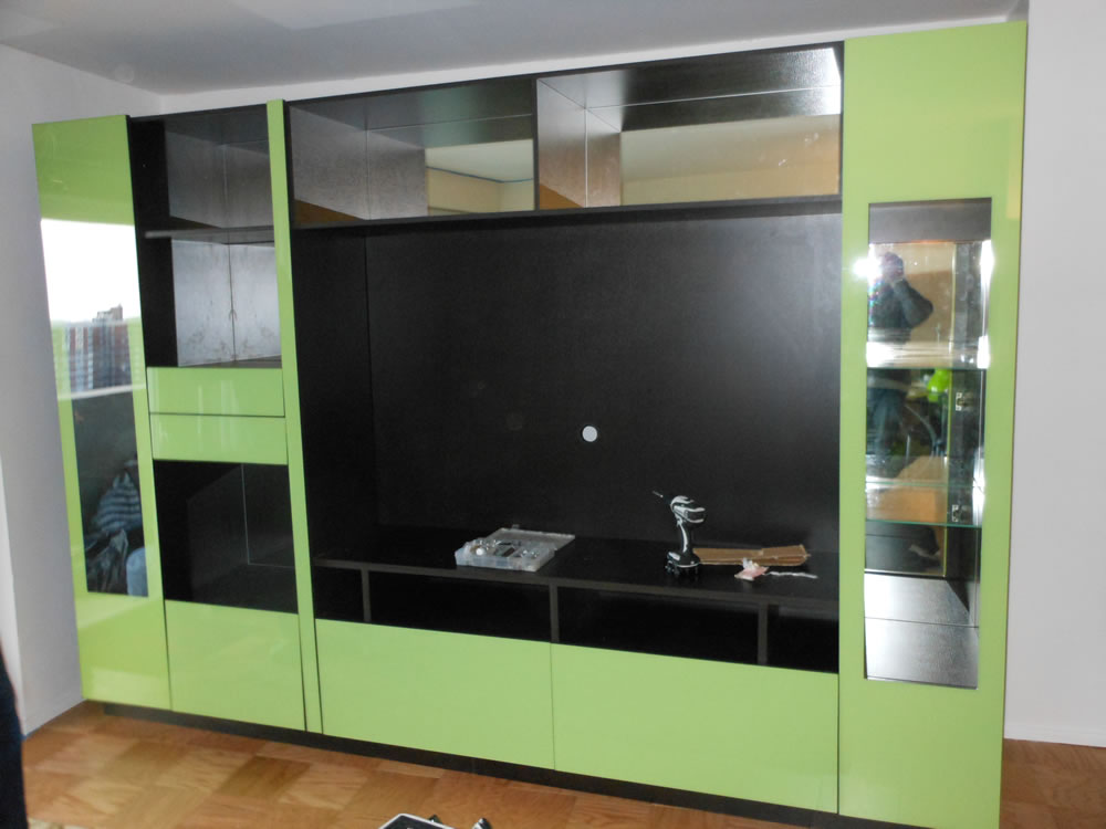 NYC Custom Wall Unit in Green Glass – Contempo Space Blog