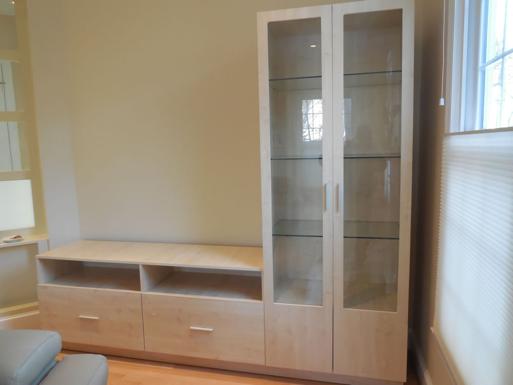 L Shaped Wall Unit in Ash Matte with Glass Doors – Contempo Space Blog