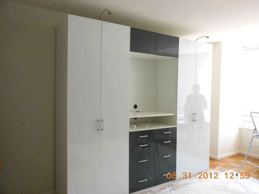 Wardrobe Cabinets In White Amp Dark Grey Glass Contempo
