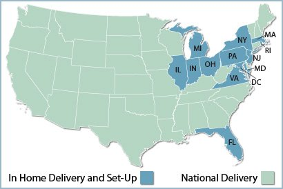 map of frniture delivery areas