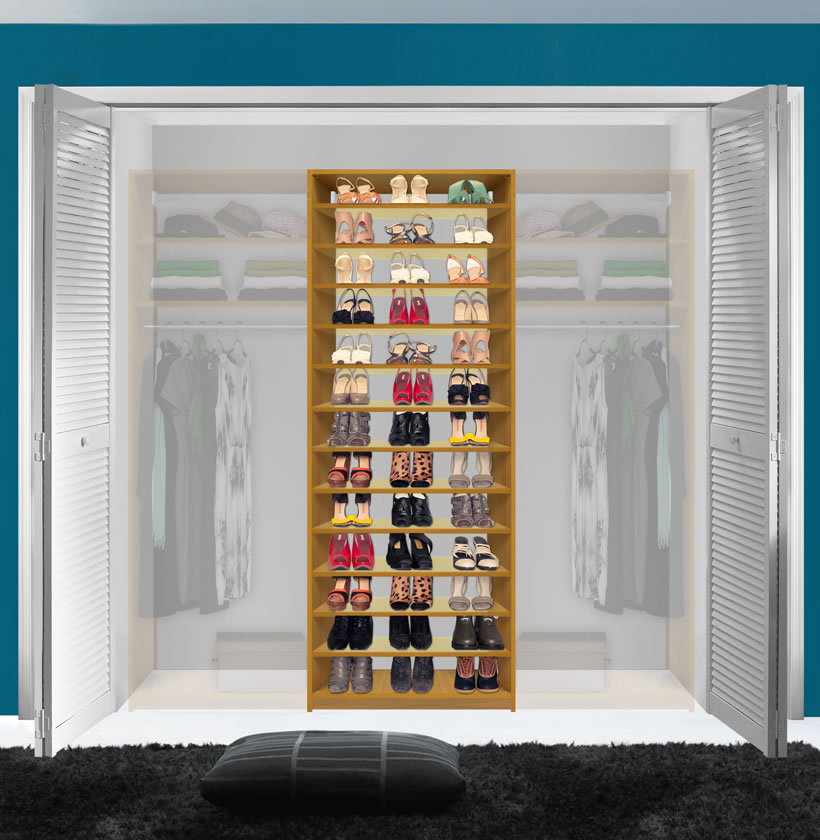 Isa Custom Shoe Storage Module; Shoe Organizer In Large Reach In Closet ...