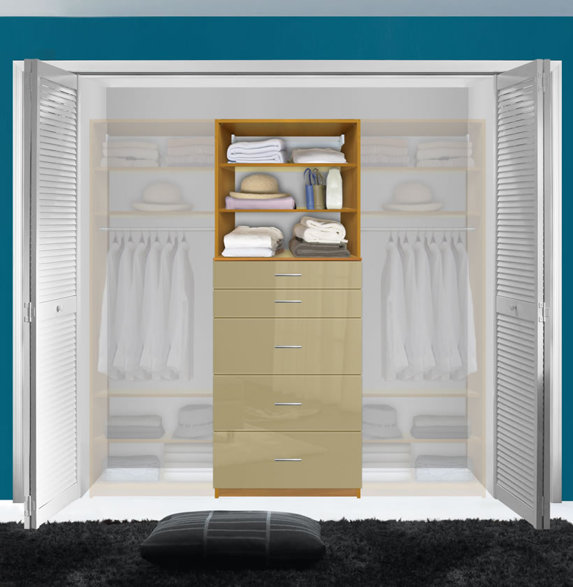 Isa Custom Closet System 5 Drawers 2 Adjustable Shelves