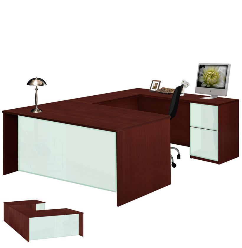 alexis u shaped executive desk full pedestal right bridge contempo space. Black Bedroom Furniture Sets. Home Design Ideas