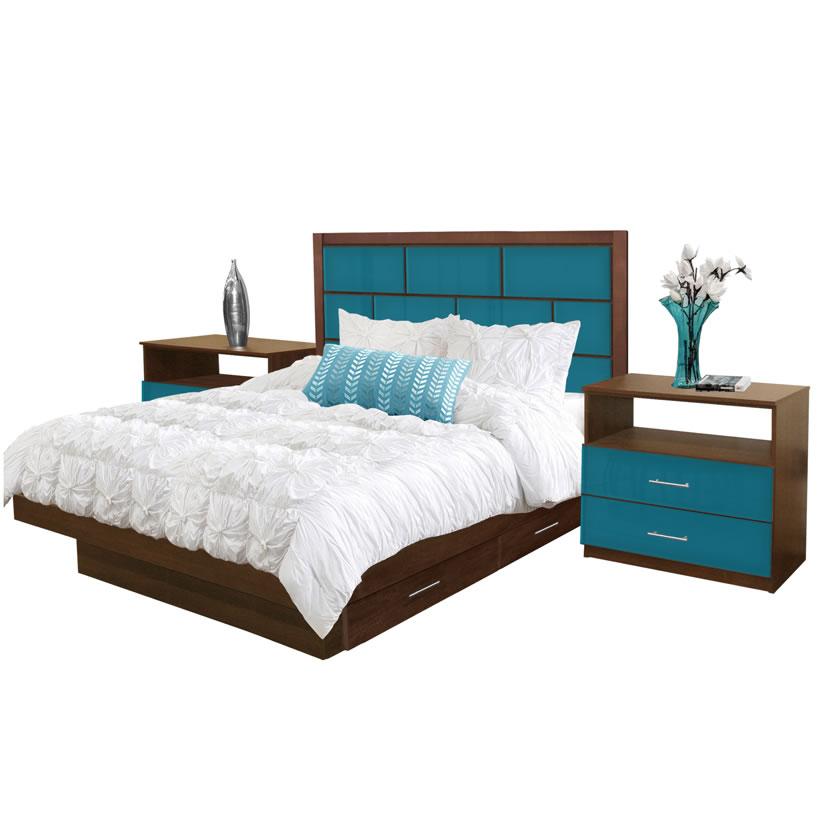 Manhattan queen size bedroom set w storage platform - Queen size bedroom set with storage ...