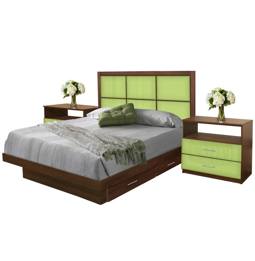 Rico queen size bedroom set w storage platform contempo - Queen size bedroom set with storage ...