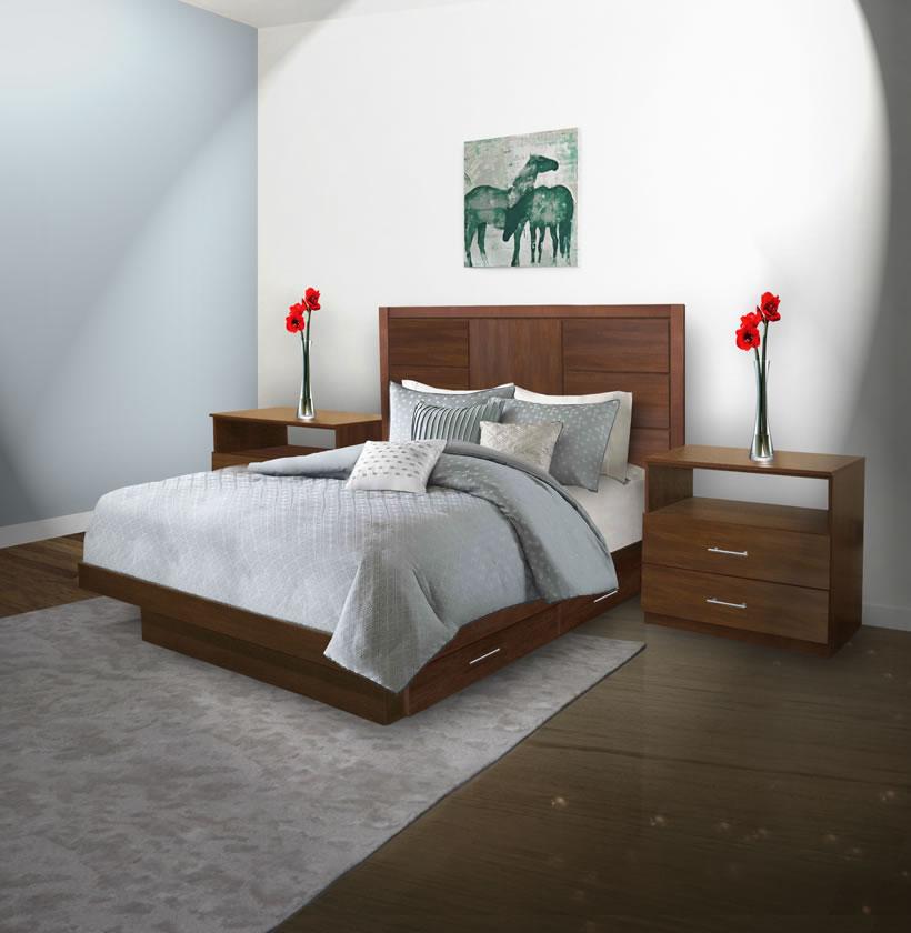 Downtown queen size bedroom set w storage platform - Queen size bedroom set with storage ...