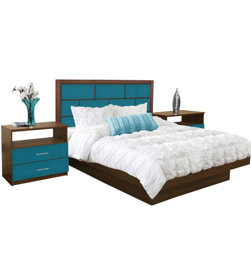 manhattan king size platform bedroom set 4 piece contempo space. Black Bedroom Furniture Sets. Home Design Ideas