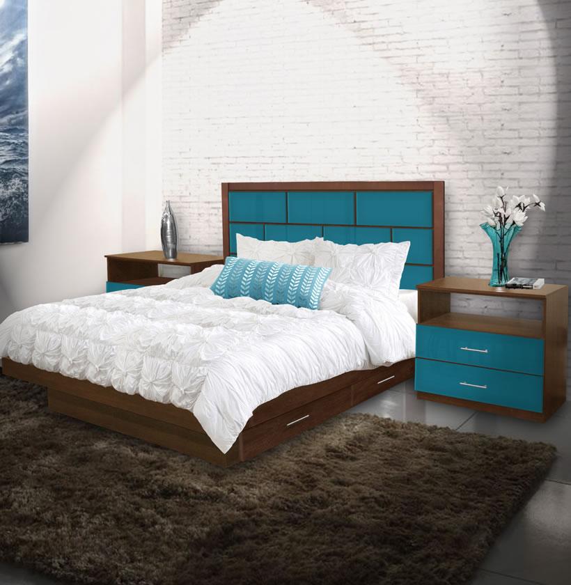 manhattan king size bedroom set w storage platform contempo space. Black Bedroom Furniture Sets. Home Design Ideas