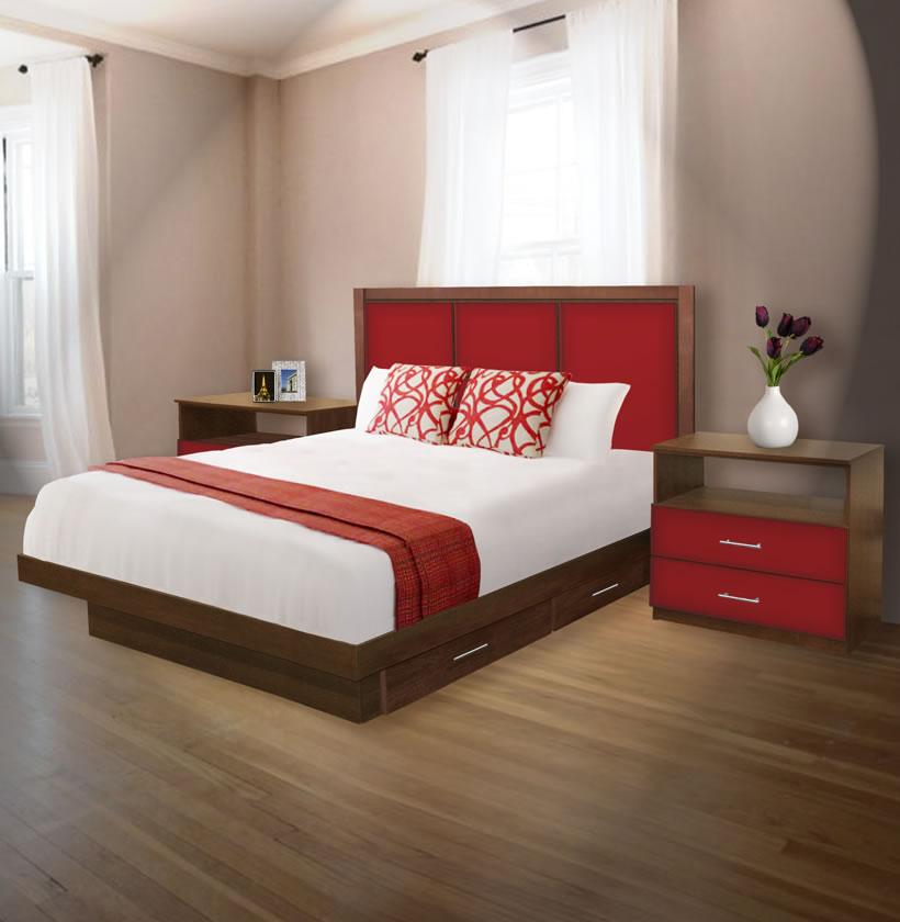 madison king size bedroom set w storage platform contempo space. Black Bedroom Furniture Sets. Home Design Ideas