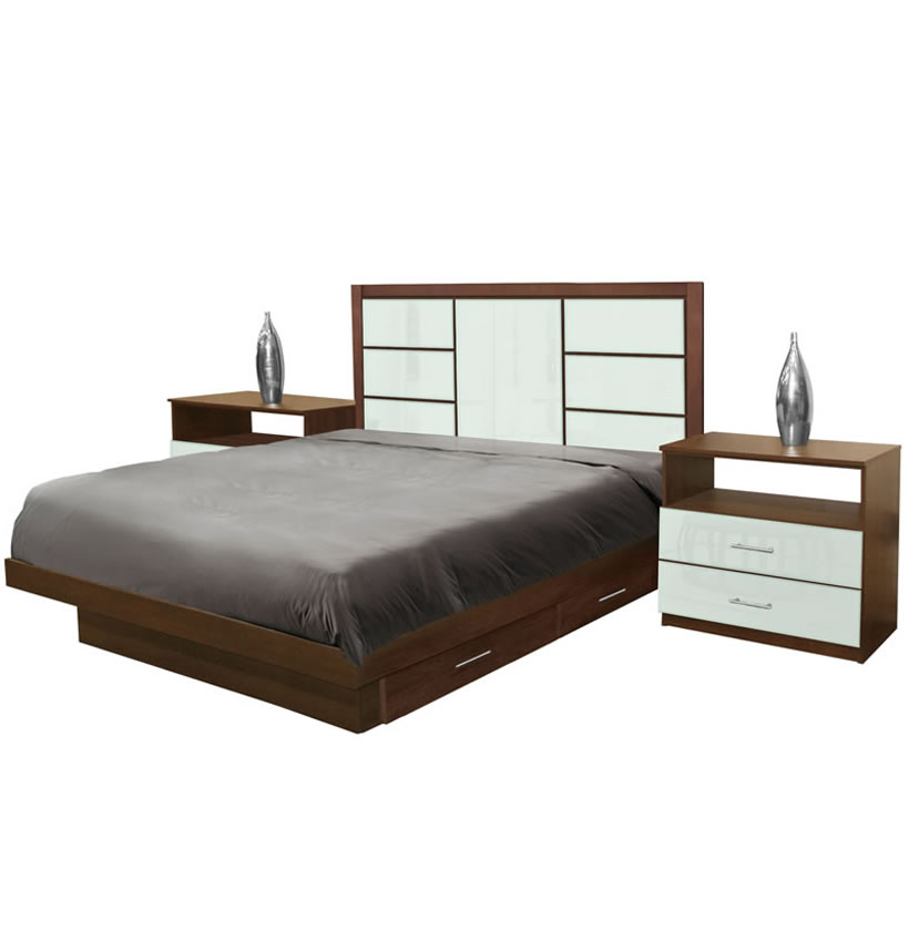 Downtown King Size Bedroom Set W Storage Platform Contempo Space