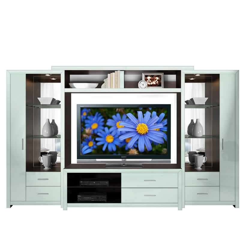 Crystal Entertainment Center Glass Shelves Accent