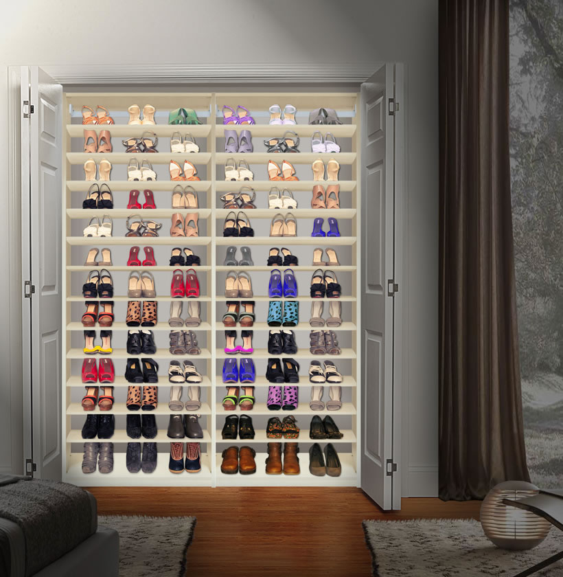 Custom Shoe Storage Closet Installed