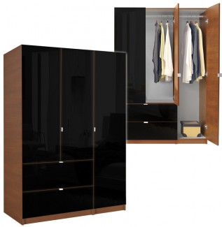 Black Wardrobe Armoire 3 Door