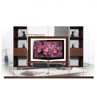 Lucus Mirrored Entertainment Wall Unit