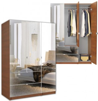 Mirrored Wardrobe Armoire 3 Door