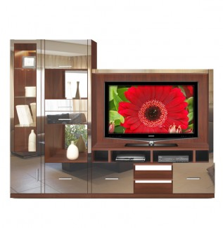 Selma Entertainment Center Mirrored Fronts, Glass Shelves