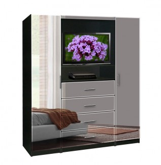 Bedroom TV Armoire Mirrored