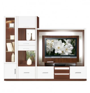 Selma Entertainment Center White Gloss Front Mirrored Back