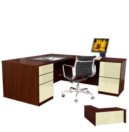 Alexis L Shaped Executive Desk - Full Pedestal Right Return