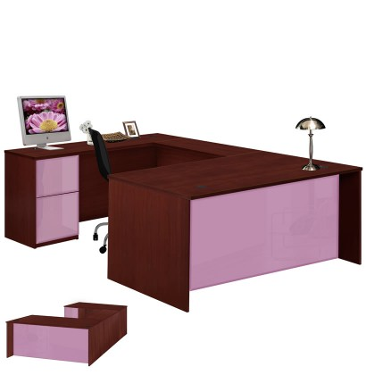 Alexis U Shaped Executive Desk   Full Pedestal Left Bridge