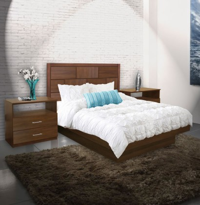 Manhattan Queen Size Platform Bedroom Set 4 Piece Contempo Space