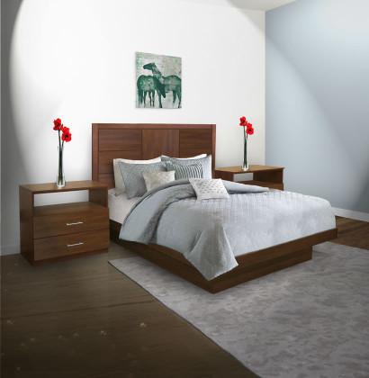 Downtown Queen Size Platform Bedroom Set 4 Piece