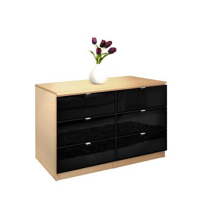 city dresser black 6 drawer