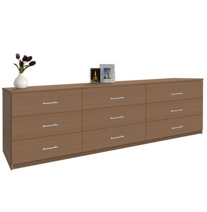 Modern 9 Drawer Triple Dresser 8 Feet Long